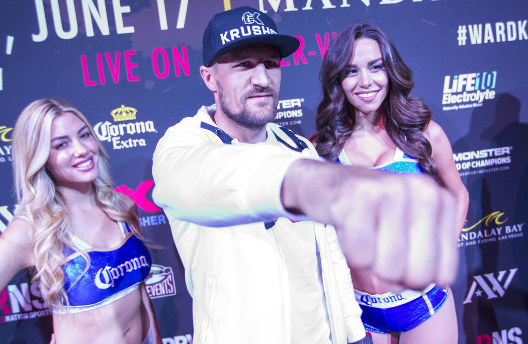 Boxer Sergey 'Krusher' Kovalev of Russia during the grand arrivals event at theMandalay Bay Resort and Casino in Las Vegas on Tuesday, June 13, 2017. Sergey Kovalev will challenge Andre Ward for t ...