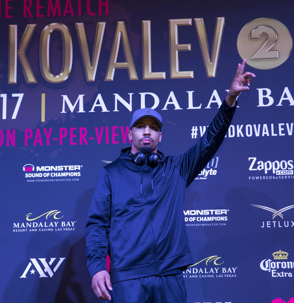 Boxer Andre Ward acknowledges the crowd during the grand arrivals event at the Mandalay Bay Resort and Casino in Las Vegas on Tuesday, June 13, 2017. Sergey Kovalev will challenge Andre Ward for t ...