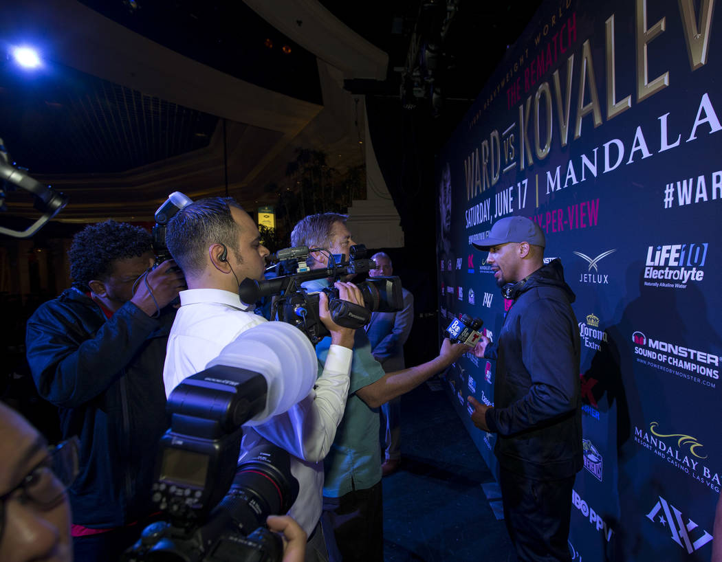 Boxer Andre Ward addresses reporters during the grand arrivals event at the Mandalay Bay Resort and Casino in Las Vegas on Tuesday, June 13, 2017. Sergey Kovalev will challenge Andre Ward for the  ...