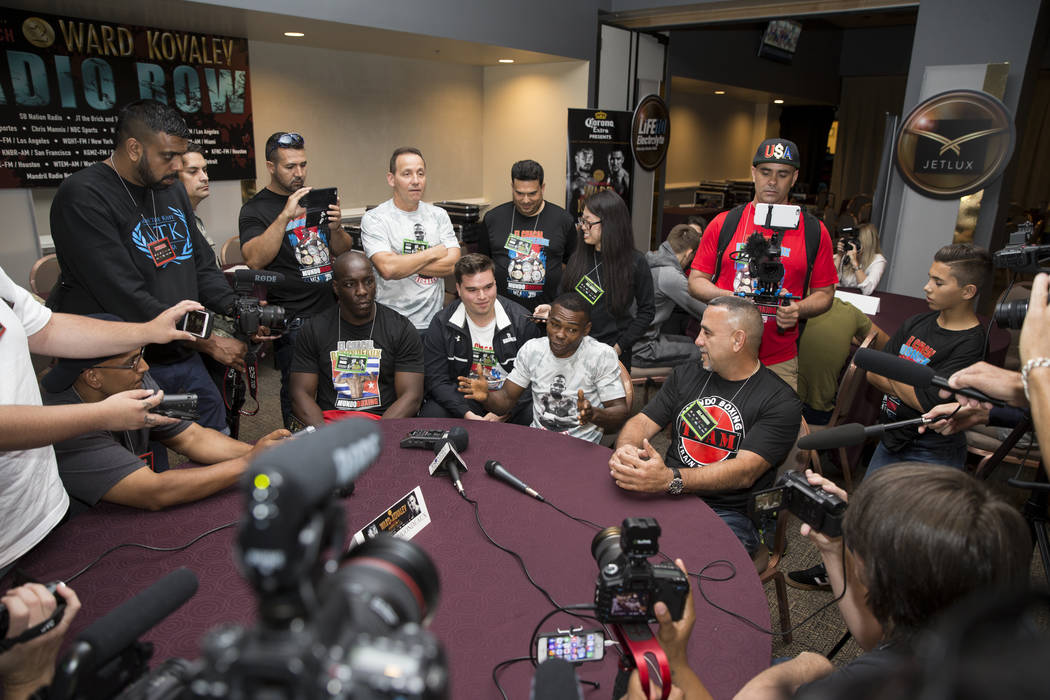 Professional boxer Guillermo Rigondeaux, center, during a press event at the Mandalay Bay casino-hotel on Wednesday, June 14, 2017 in Las Vegas. Erik Verduzco/Las Vegas Review-Journal