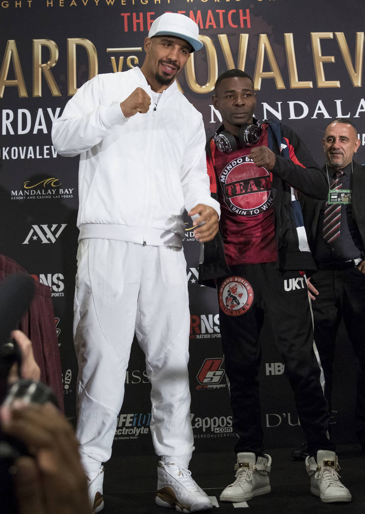 Boxer Andre Ward, left, poses with stablemate Guillermo Rigondeaux during a news conference at the Mandalay Bay Events Center on Thursday, June 15, 2017. Richard Brian Las Vegas Review-Journal @ve ...