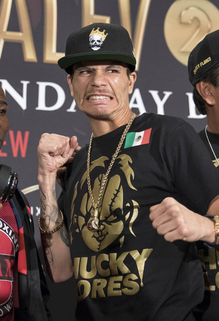 Boxer Moises Flores poses during a news conference at the Mandalay Bay Events Center on Thursday, June 15, 2017. Flores will face Guillermo Rigondeaux in a super bantamweight boxing match Saturday ...