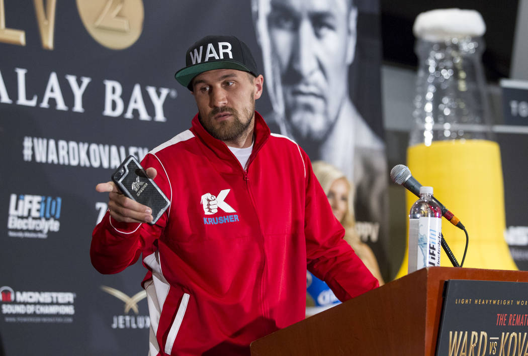 Russian boxer Sergey Kovalev during a news conference at the Mandalay Bay Events Center on Thursday, June 15, 2017. Andre Ward will defend his titles against Sergey Kovalev in a light heavyweight  ...