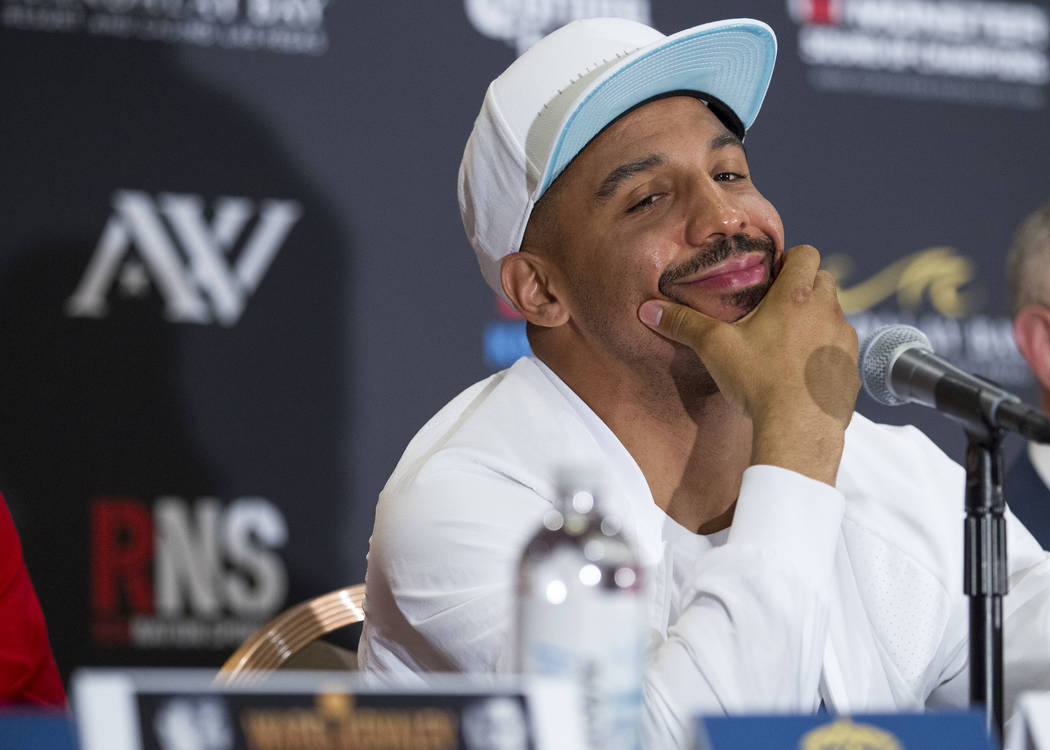 Andre Ward during a news conference at the Mandalay Bay Events Center on Thursday, June 15, 2017. Ward will defend his titles against Sergey Kovalev in a light heavyweight championship boxing matc ...