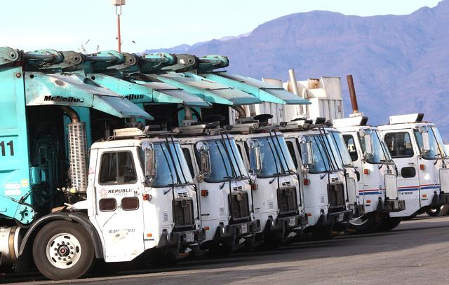 Republic trucks are lined up at Republic Services' disposal facility Wednesday, Dec. 7, 2016, in North Las Vegas. (Bizuayehu Tesfaye/Las Vegas Review-Journal) @bizutesfaye