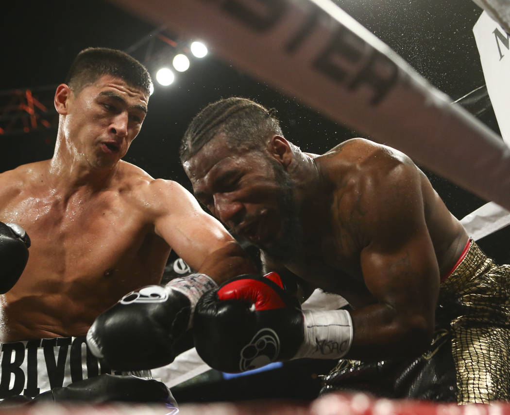 Dmitry Bivol, left, hits Cedric Agnew during their light heavyweight fight at the Mandalay Bay Events Center in Las Vegas on Saturday, June 17, 2017. Bivol won via technical knockout. Chase Steven ...