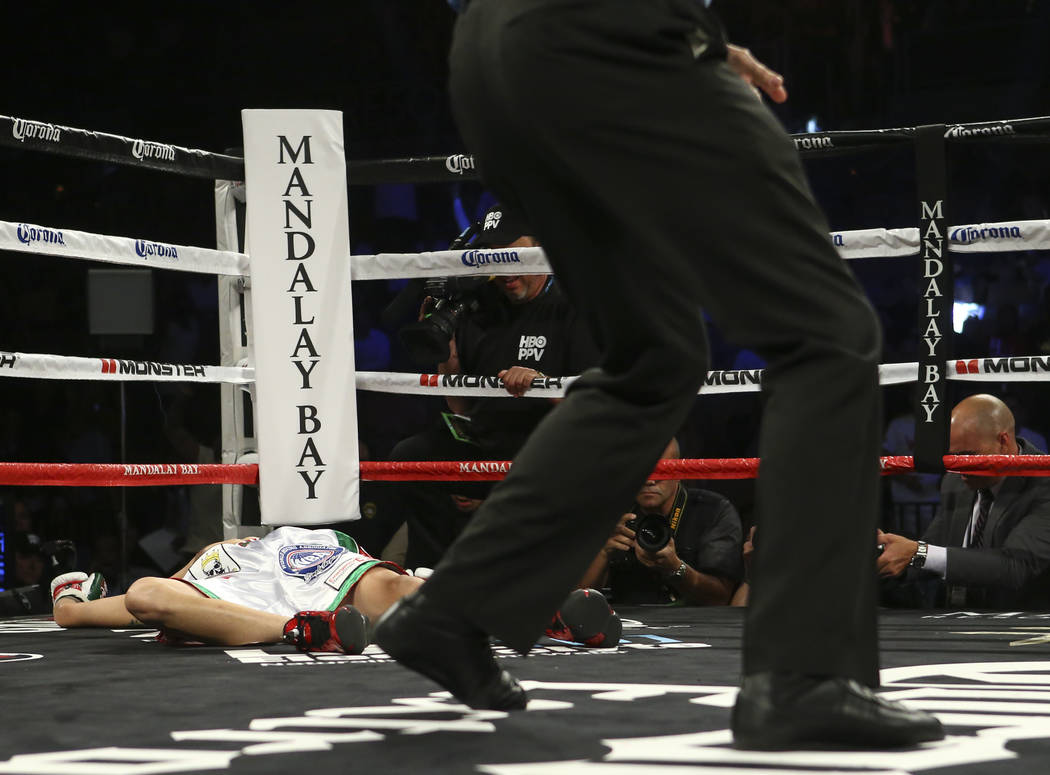 Moises Flores after getting knocked out by Guillermo Rigondeaux in the first round of their super bantamweight title fight at the Mandalay Bay Events Center in Las Vegas on Saturday, June 17, 2017 ...