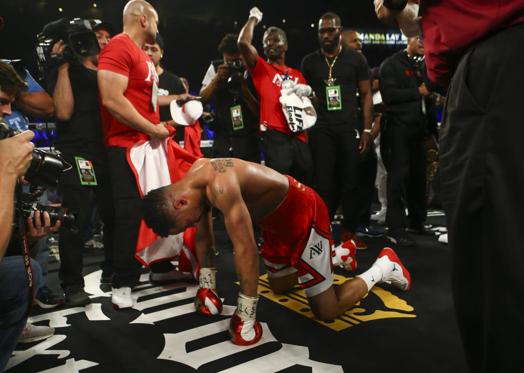 Andre Ward after defeating Sergey Kovalev in the 8th round via technical knockout during their light heavyweight championship fight at the Mandalay Bay Events Center in Las Vegas on Saturday, June ...