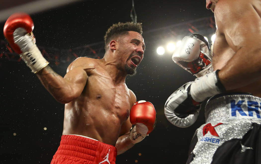 Andre Ward, left, fights Sergey Kovalev during their light heavyweight championship fight at the Mandalay Bay Events Center in Las Vegas on Saturday, June 17, 2017. Ward won via technical knockout ...
