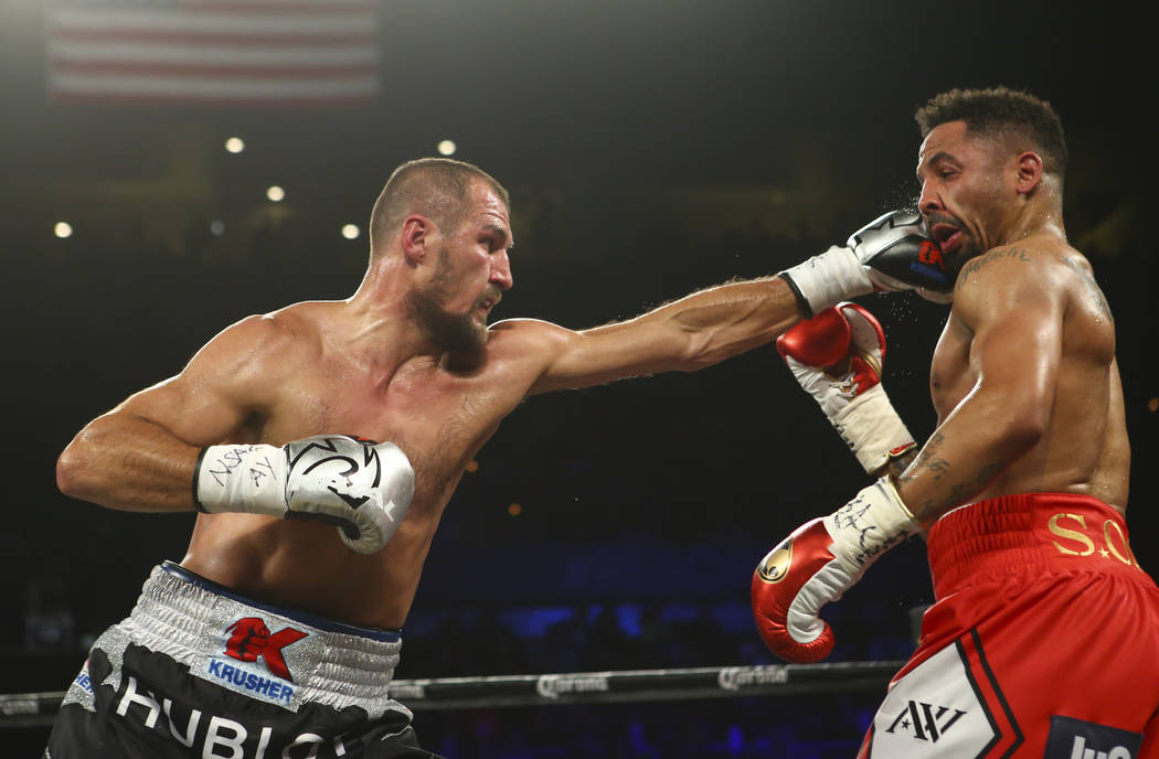 Sergey Kovalev, left, fights Andre Ward during their light heavyweight championship fight at the Mandalay Bay Events Center in Las Vegas on Saturday, June 17, 2017. Ward won via technical knockout ...