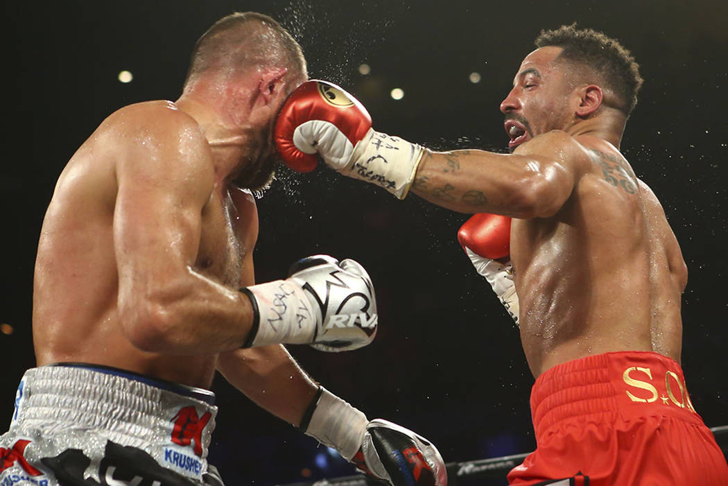 Andre Ward, right, fights Sergey Kovalev during their light heavyweight championship fight at the Mandalay Bay Events Center in Las Vegas on Saturday, June 17, 2017. Ward won via technical knockou ...