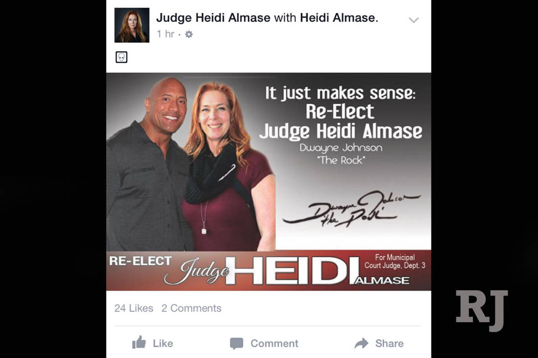 This picture appeared on the Facebook page for Las Vegas Municipal Judge Heidi Almase's re-election campaign. (Screenshot/Facebook)