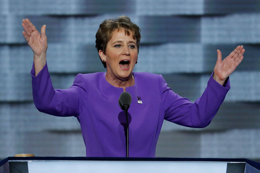 Mary Kay Henry, President of SEIU speaks during the first day of the Democratic National Convention in Philadelphia , Monday, July 25, 2016. (J. Scott Applewhite/AP)