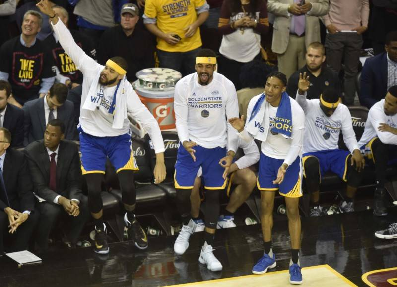 Golden State Warriors bench reacts during the fourth quarter against the Cleveland Cavaliers in game three of the 2017 NBA Finals at Quicken Loans Arena. (David Richard-USA TODAY Sports)