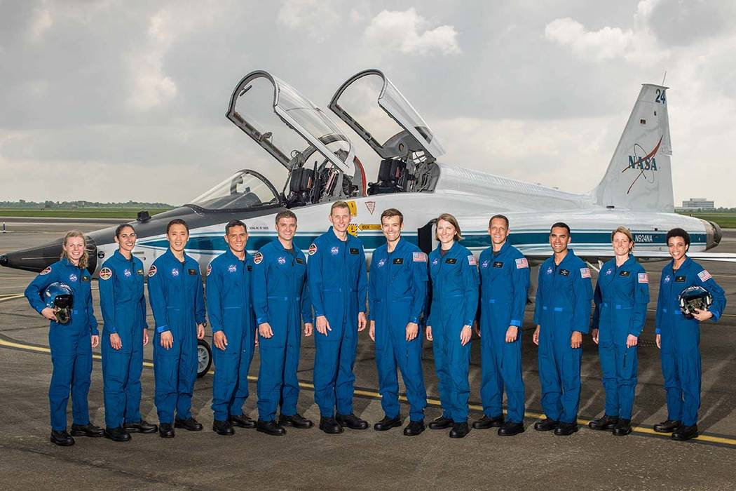 This undated photo made available by NASA on Wednesday, June 7, 2017 shows the 2017 NASA Astronaut Class at the Johnson Space Center in Houston. From left are Zena Cardman, Jasmin Moghbeli, Jonny  ...