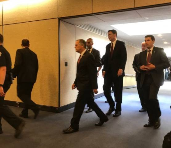 Former FBI Director James Comey leaves after closed-door hearing with senators. (Gary Martin/Las Vegas Review-Journal)