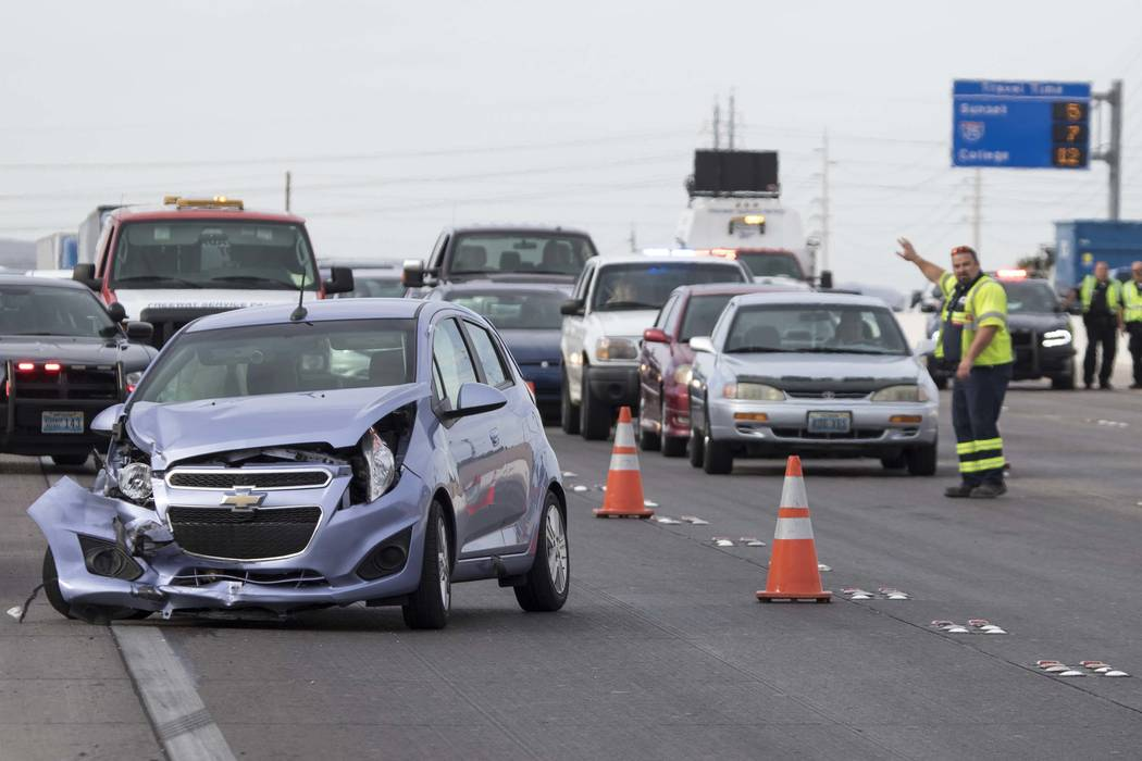 The scene of a crash on northbound U.S. Highway 95 near East Tropicana Avenue on Thursday, June 8, 2017. (Richard Brian Las Vegas Review-Journal) @vegasphotograph