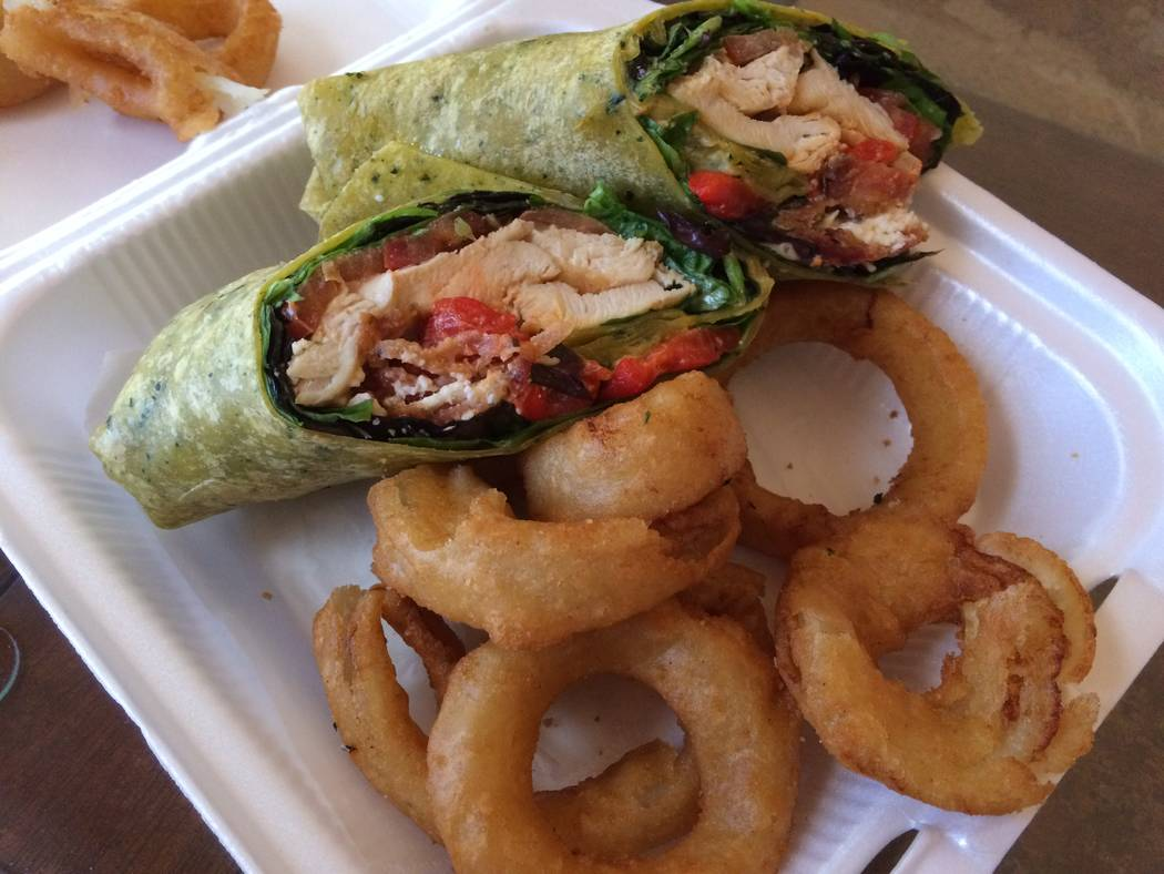 Chicken wrap with onion rings. (Jan Hogan/View)