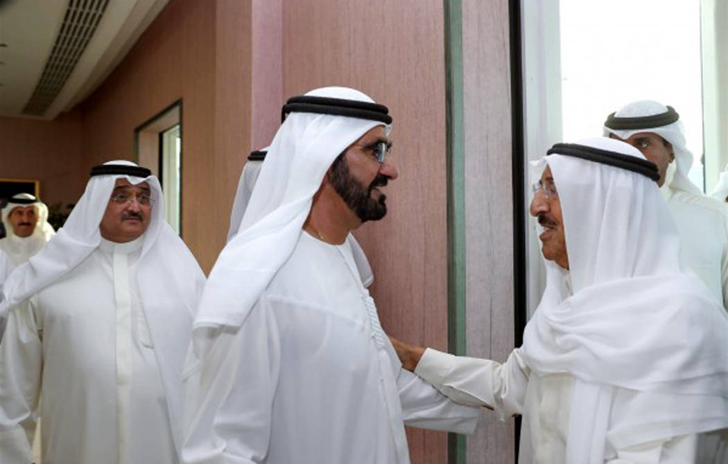 The Emir of Kuwait, Sheikh Sabah Al-Ahmad Al-Jaber Al-Sabah, right, is received by UAE Vice President, Prime Minister and Ruler of Dubai, Sheikh Mohammed bin Rashid Al Maktoum, to hold talks about ...