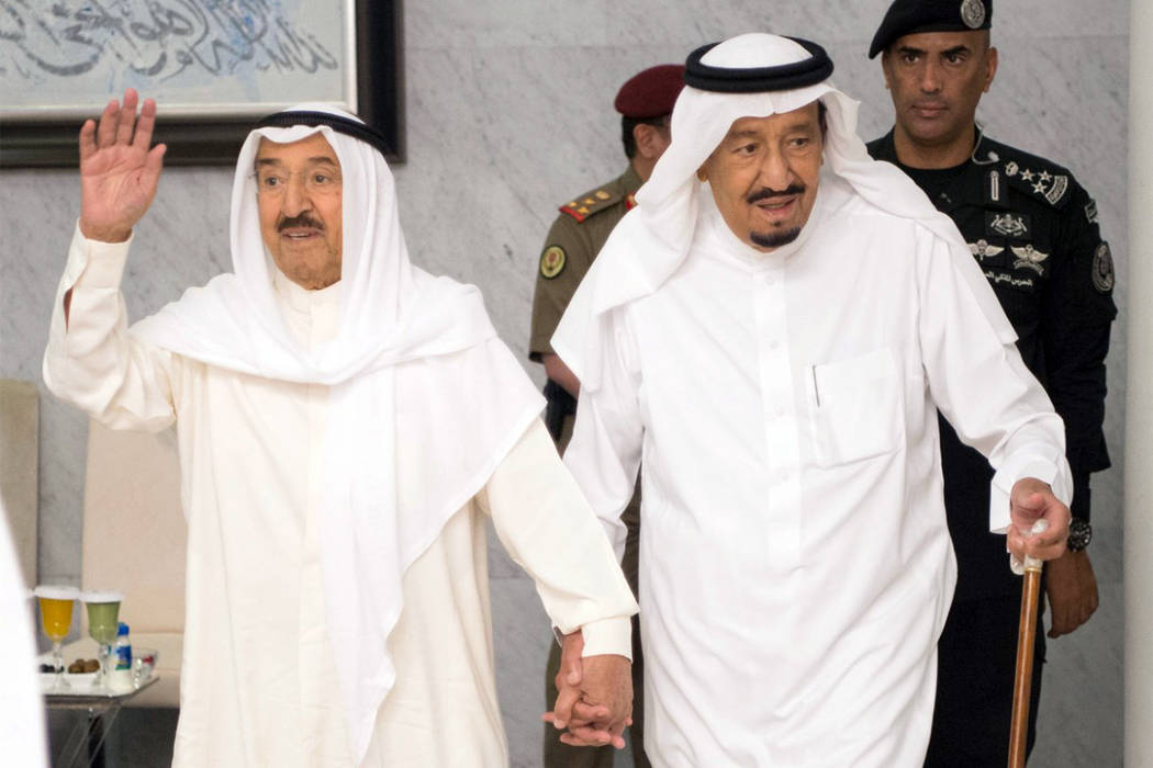 Saudi King Salman bin Abdulaziz Al Saud, right, receives Kuwait's Emir Sheikh Jaber al-Ahmad al-Sabah in Jiddah, Saudi Arabia, on Tuesday, June 6, 2017. Sheikh Sabah aims resolving a diplomatic cr ...