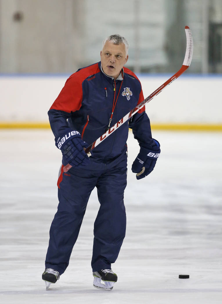 Florida Panthers assistant coach Mike Kelly is shown during a practice session, Tuesday, April 12, 2016, at the Panthers' practice facility in Coral Springs, Fla. (AP Photo/Wilfredo Lee)