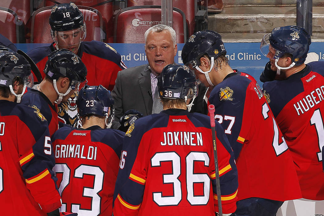 Assistant Coach Mike Kelly of the Florida Panthers directs his team from the bench during a break in the action against the Buffalo Sabres at the BB&T Center on November 12, 2015 in Sunrise, F ...