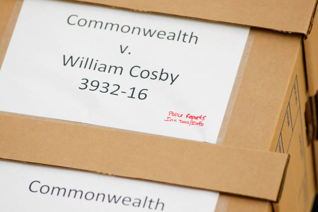 Legal documents are wheeled into the courtroom on the fourth day of the Bill Cosby sexual assault trial the Montgomery County Courthouse in Norristown, Pennsylvania, U.S., June 8, 2017. (Eduardo M ...