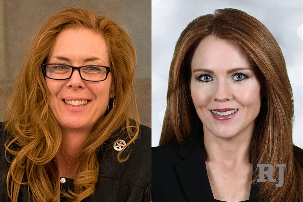 Las Vegas Municipal Court judge Heidi Almase, left, and Las Vegas Municipal Court judge candidate Cara Campbell, right.