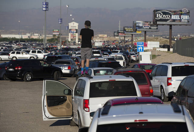 Traffic leading out onto Interstate 15 is backed up for miles at the end of the first day of Electric Daisy Carnival, Saturday, June 18, 2016 at Las Vegas Motor Speedway in Las Vegas. (Benjamin Ha ...