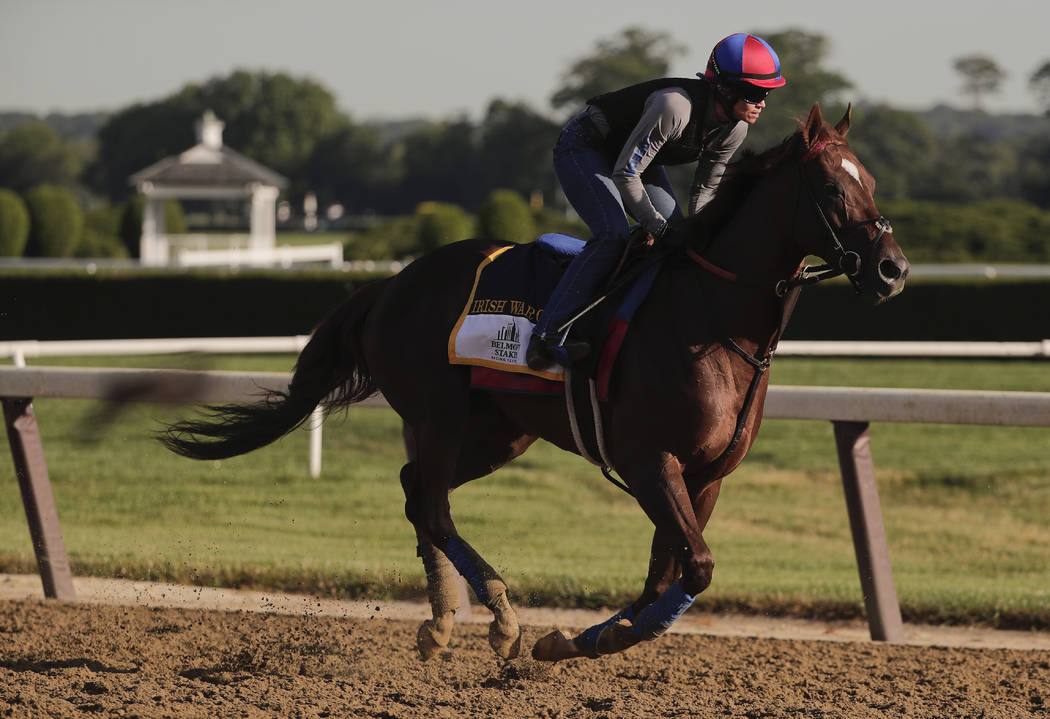 Belmont Stakes hopeful Irish War Cry gallops around the track during a workout at Belmont Park, Thursday, June 8, 2017, in Elmont, N.Y. Irish War Cry will be one of 12 horses competing in the 149t ...