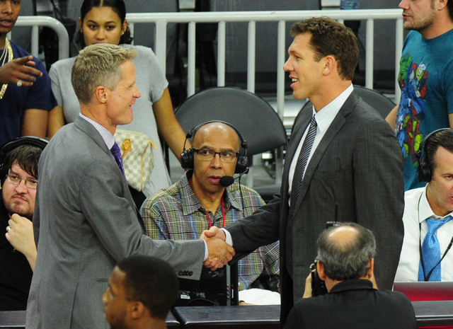 Los Angeles Lakers head coach Luke Walton, right, shakes hands with Golden State Warriors head coach Steve Kerr at the end of their NBA basketball game at T-Mobile Arena in Las Vegas Saturday, Oct ...