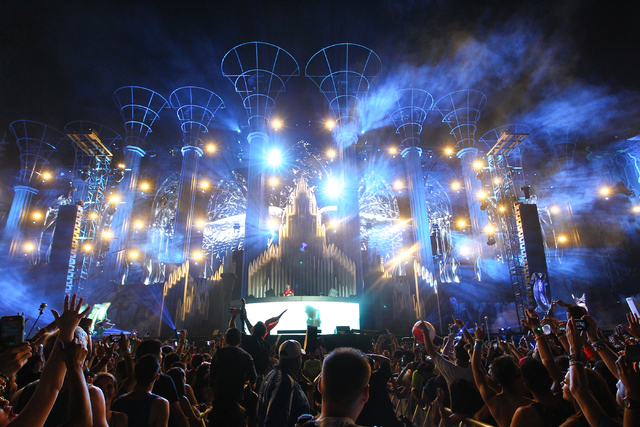 Tiesto performs at the Kinetic Field stage at the Electric Daisy Carnival at the Las Vegas Motor Speedway in Las Vegas during the early hours of Sunday, June 22, 2014. (Chase Stevens/Las Vegas Rev ...