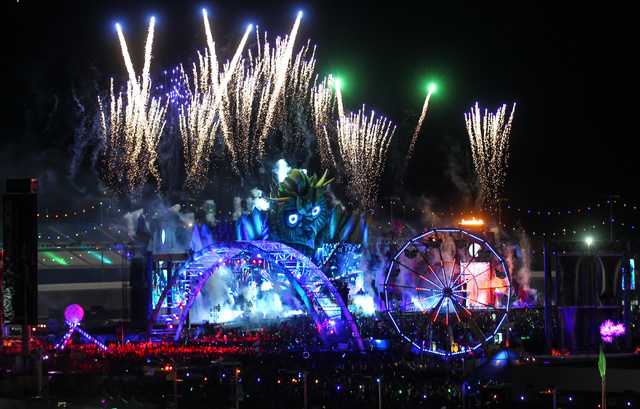 Fireworks shoot up at the Kinetic Field stage at Electric Daisy Carnival at the Las Vegas Motor Speedway in Las Vegas on Sunday, June 21, 2015. (Chase Stevens/Las Vegas Review-Journal) Follow Chas ...