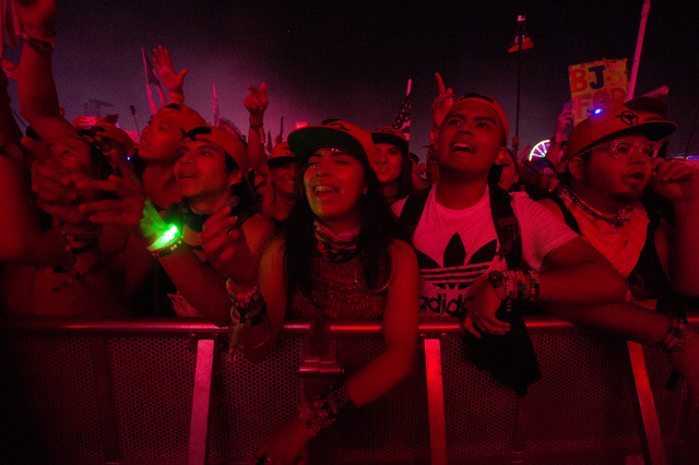 The crowd sings along during Tiesto's set on the third night of Electric Daisy Carnival at Las Vegas Motor Speedway in the early hours of Monday, June 20, 2016. (Bridget Bennett/Las Vegas Review-J ...