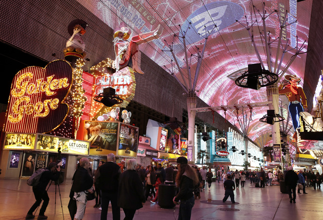 The Fremont Street Experience in downtown Las Vegas on Wednesday, Feb. 1, 2017. (David Guzman/Las Vegas Review-Journal) @DavidGuzman1985
