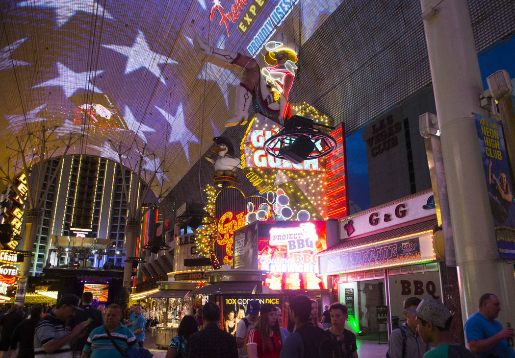 The Fremont Street Experience in downtown Las Vegas on on Thursday, April 6, 2017. Chase Stevens Las Vegas Review-Journal @csstevensphoto