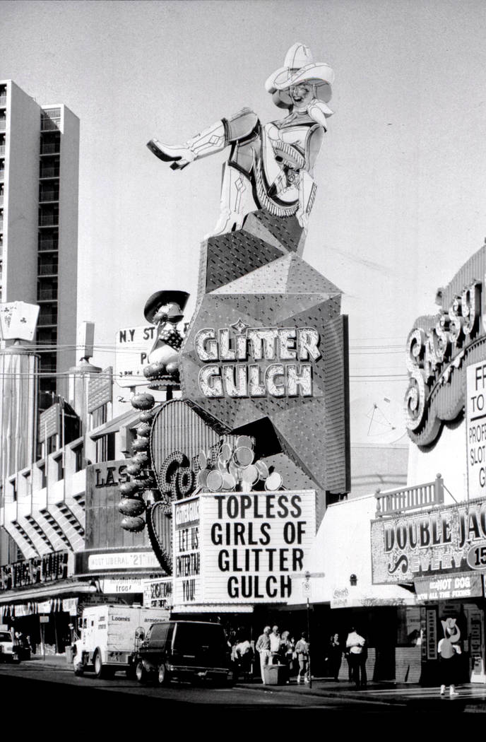 Vegas Vickie neon sign is shown in this Las Vegas Review-Journal file photo from November 1993, when she was known as Sassy Sally. Jim Laurie Las Vegas Review-Journal