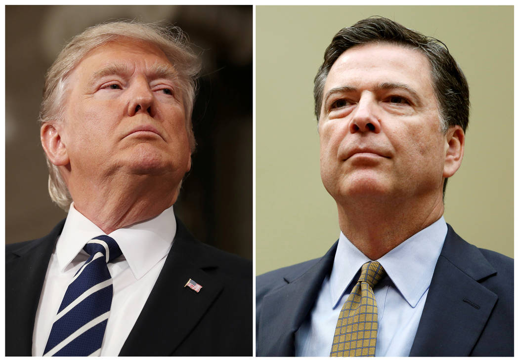A combination photo shows U.S. President Donald Trump (L) in the House of Representatives in Washington, U.S., on February 28, 2017 and FBI Director James Comey in Washington U.S. on July 7, 2016. ...