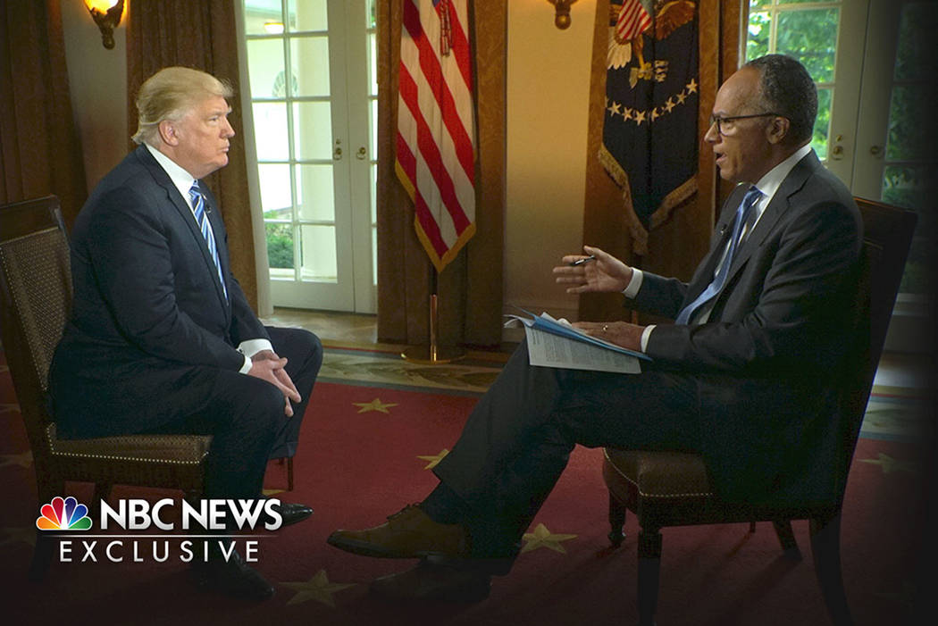 "In this image provided by NBC News, President Donald Trump is interviewed by NBC's Lester Holt, Thursday, May 11, 2017. Trump insisted Thursday during the interview that there was ""no collu ..."
