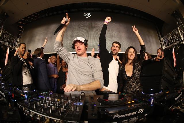 DJ Diplo, Michael Phelps and Nicole Johnson at XS in Encore on Saturday, Nov. 12, 2016, in Las Vegas. (Danny Mahoney)