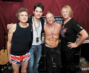 John Mayer, second from left, attended Def Leppard's concert at The Joint at The Hard Rock Hotel on Friday, April 12, 2013, in Las Vegas.