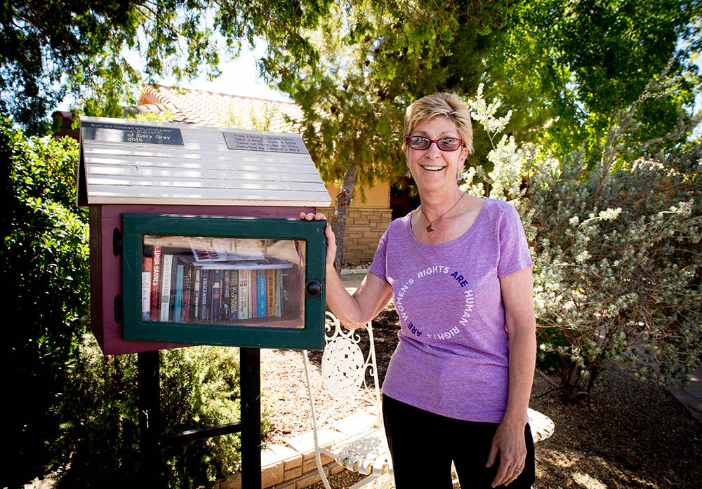 """To honor her husband, she installed a """"little free library""""(littlefreelibrary.org) with a couple chairs in one corner of the front yard. This was something he talked about doing, she said. Pas ..."""