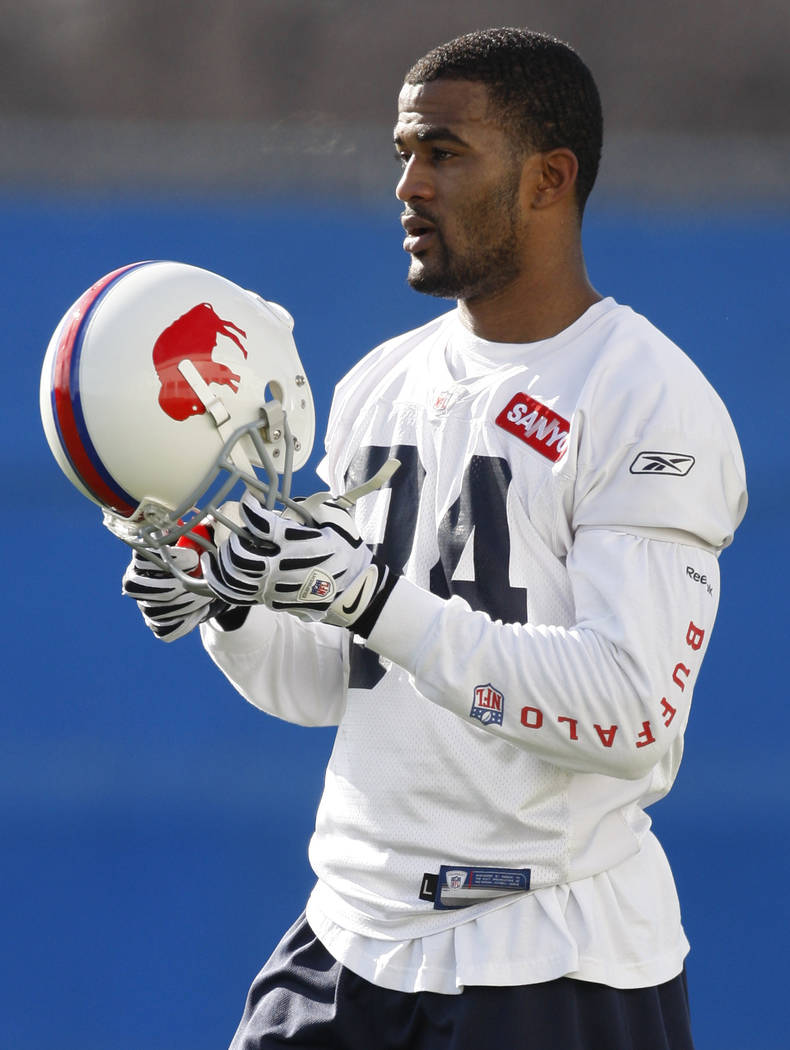 Buffalo Bills' James Hardy puts on his helmet during NFL football practice in Orchard Park, N.Y., Wednesday, Nov. 11, 2009. The Bills (3-5) also have to determine by the end of the day whether to  ...