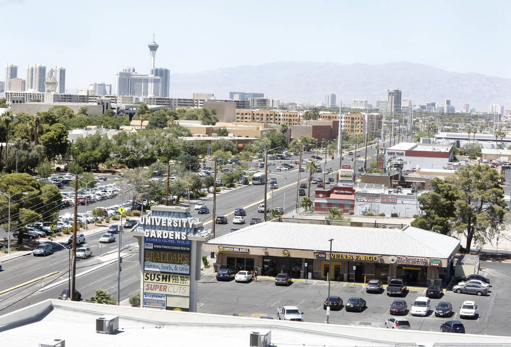 South Maryland Parkway as seen from the roof of a parking garage on Friday, June 9, 2017, where a light rail line will be built and operate connecting McCarran International Airport, the Strip and ...