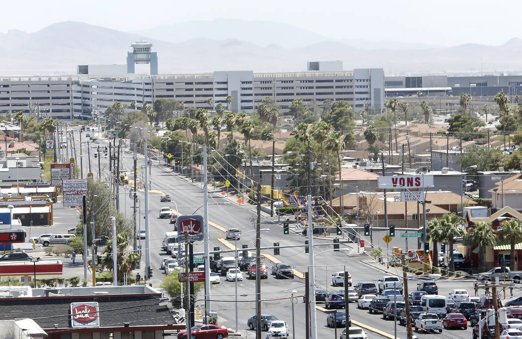 South Maryland Parkway as seen from the roof of a parking garage on Friday, June 9, 2017 where a light rail line will be built and operate connecting McCarran International Airport, the Strip and  ...