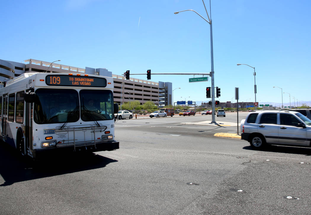 An RTC bus at the intersection of S. Maryland Parkway and Russel Road near McCarran Airport on Friday, June 9, 2017 where a light rail line will be built and operate connecting McCarran Internatio ...