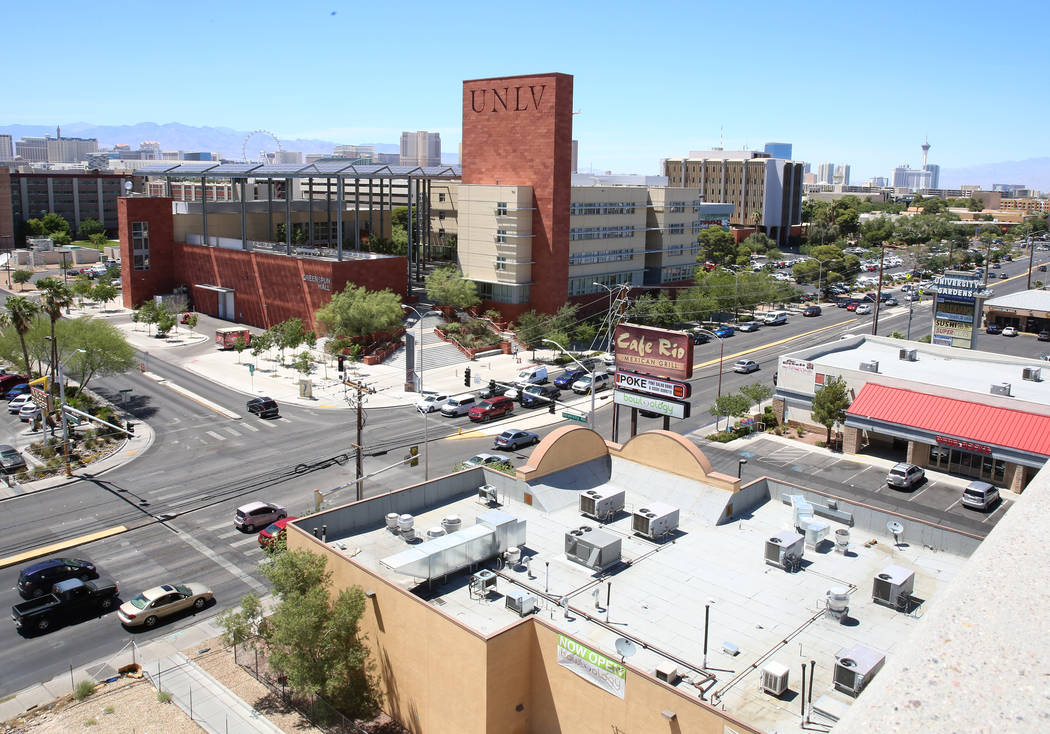 UNLV on S. Maryland Parkway on Friday, June 9, 2017 where a light rail line will be built and operate connecting McCarran International Airport, the Strip and downtown Las Vegas as soon as 2023. B ...