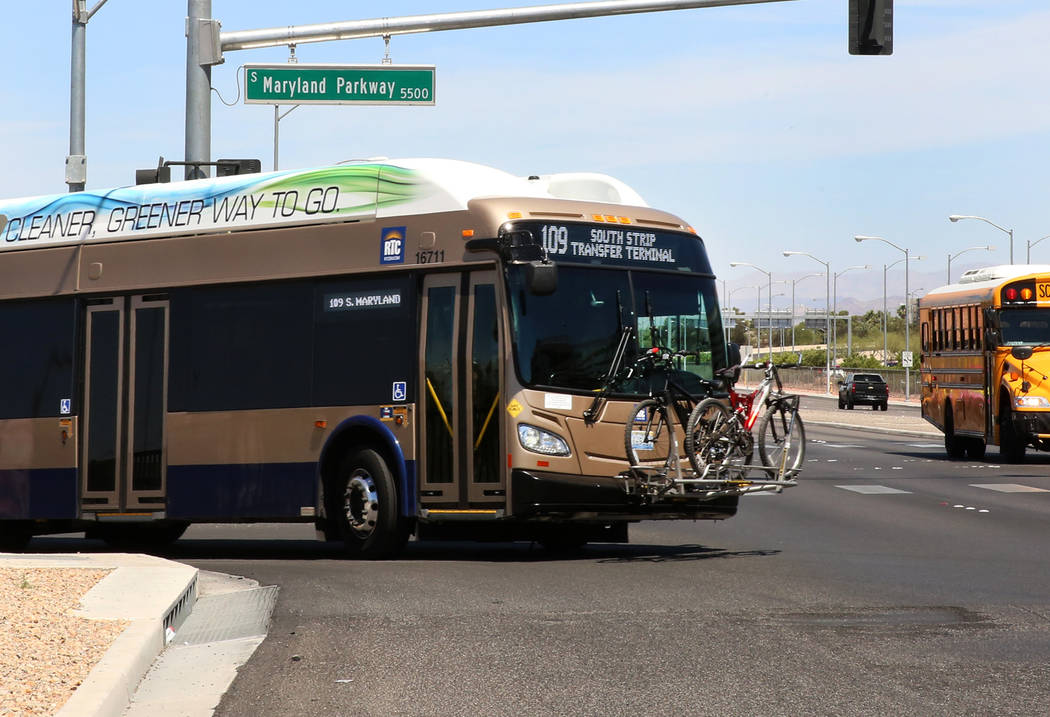 A RTC bus at the intersection of S. Maryland Parkway and Russel Road near McCarran Airport on Friday, June 9, 2017 where a light rail line will be built and operate connecting McCarran Internation ...