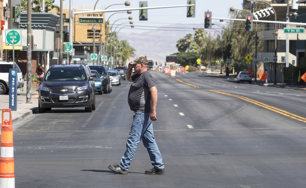 Carson Avenue near 6th Street in downtown Las Vegas on Friday, June 9, 2017, where a light rail line will be built connecting McCarran International Airport, the Strip and downtown Las Vegas as so ...