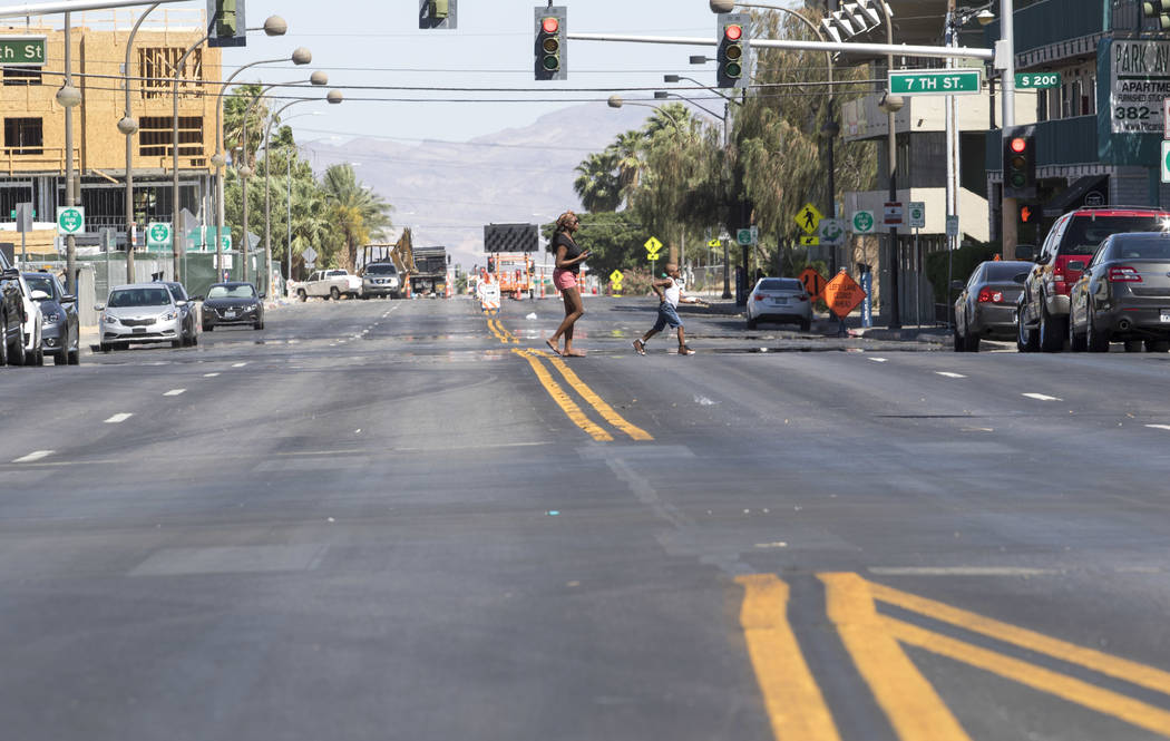 Carson Avenue near 7th Street in downtown Las Vegas on Friday, June 9, 2017, where a light rail line will be built connecting McCarran International Airport, the Strip and downtown Las Vegas as so ...
